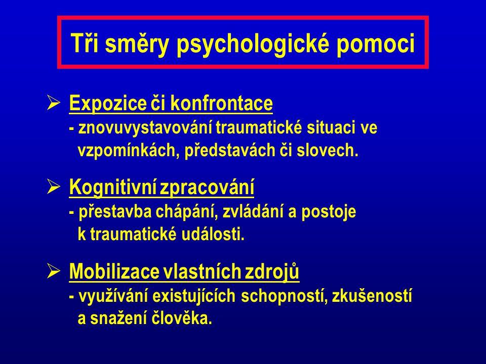 Tři směry psychologické pomoci  Expozice či konfrontace - znovuvystavování traumatické situaci ve vzpomínkách, představách či slovech.  Kognitivní z