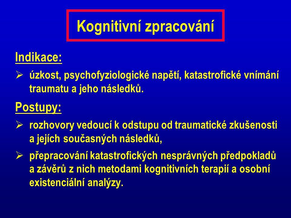Kognitivní zpracování Indikace:  úzkost, psychofyziologické napětí, katastrofické vnímání traumatu a jeho následků. Postupy:  rozhovory vedoucí k od