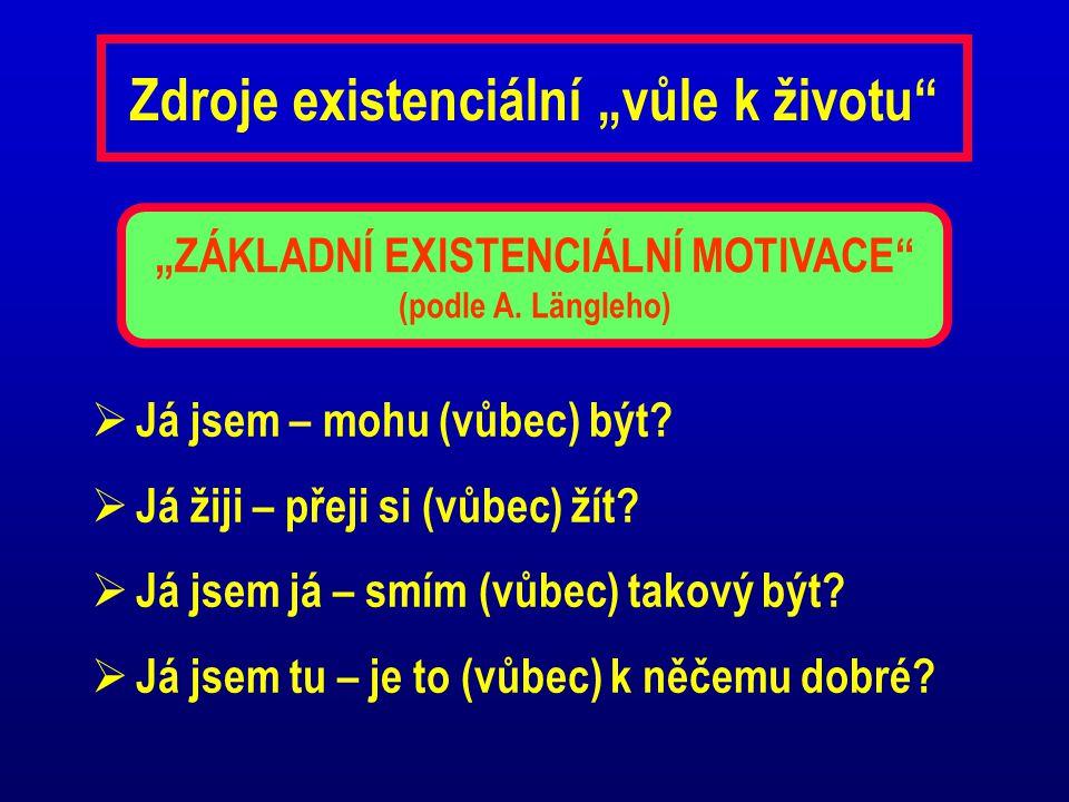 """Zdroje existenciální """"vůle k životu""""  Já jsem – mohu (vůbec) být?  Já žiji – přeji si (vůbec) žít?  Já jsem já – smím (vůbec) takový být?  Já jsem"""