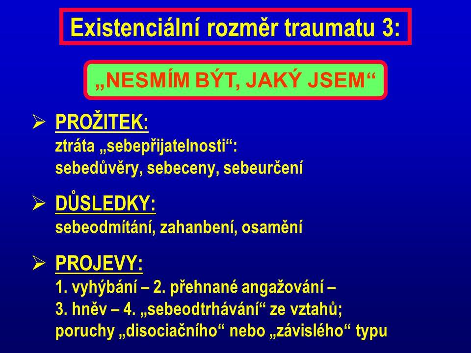 """Existenciální rozměr traumatu 3:  PROŽITEK: ztráta """"sebepřijatelnosti"""": sebedůvěry, sebeceny, sebeurčení  DŮSLEDKY: sebeodmítání, zahanbení, osamění"""