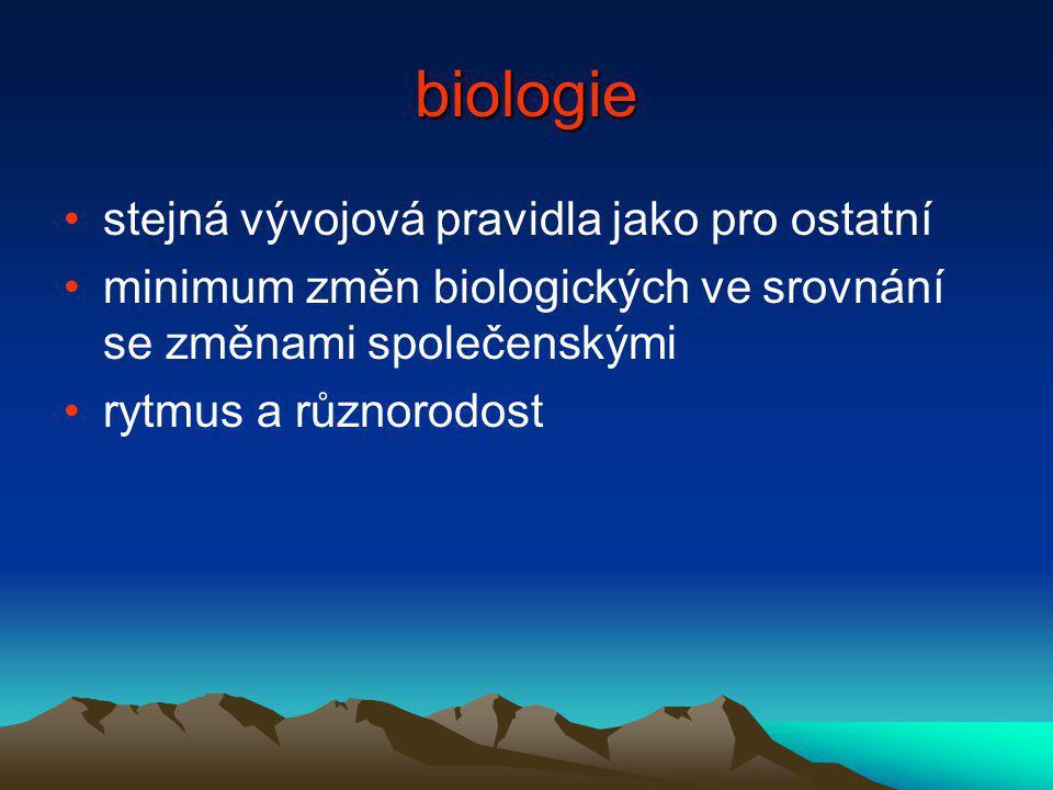 biologie stejná vývojová pravidla jako pro ostatní minimum změn biologických ve srovnání se změnami společenskými rytmus a různorodost