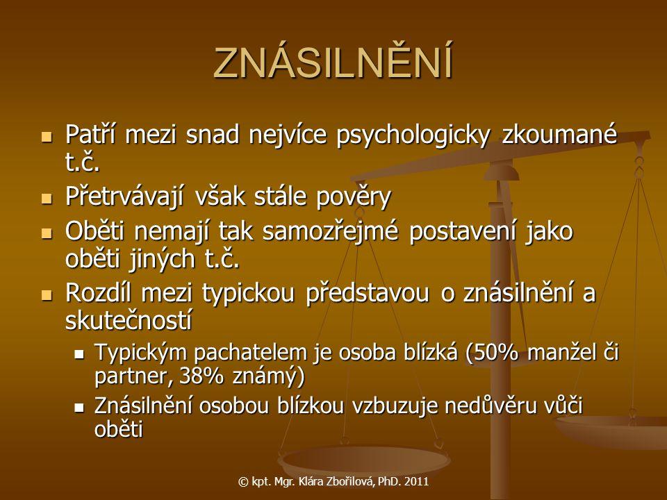 © kpt. Mgr. Klára Zbořilová, PhD. 2011 ZNÁSILNĚNÍ Patří mezi snad nejvíce psychologicky zkoumané t.č. Patří mezi snad nejvíce psychologicky zkoumané t