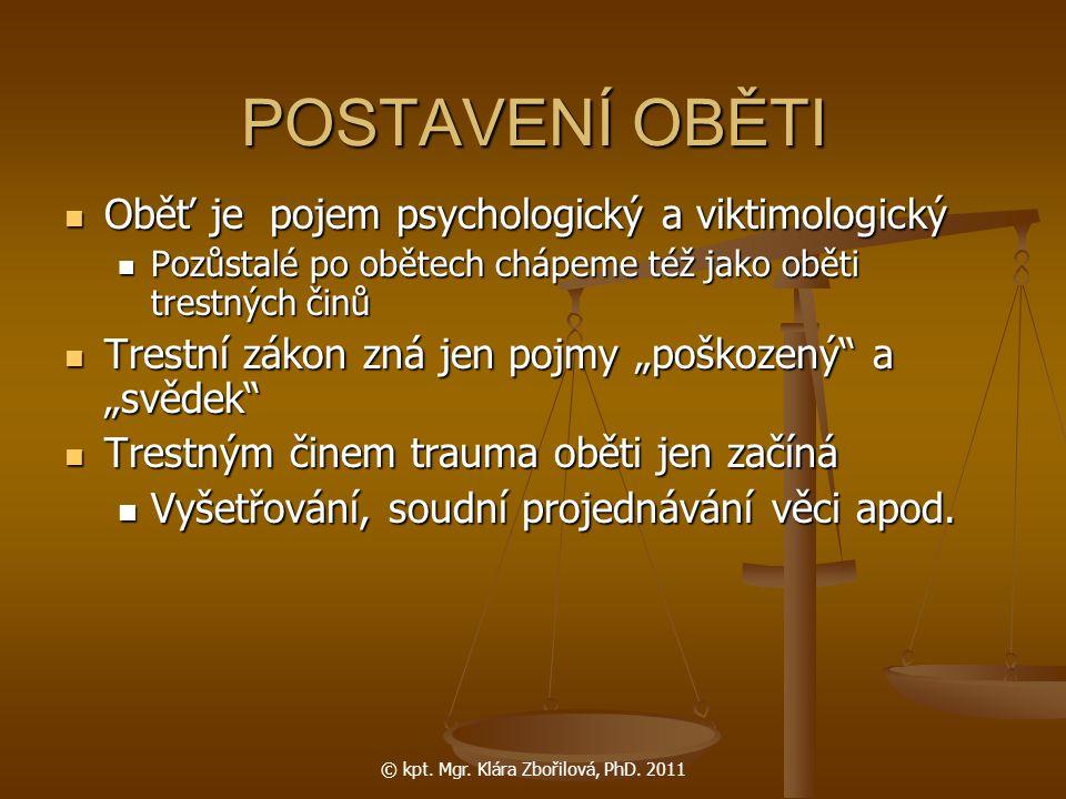 © kpt. Mgr. Klára Zbořilová, PhD. 2011 POSTAVENÍ OBĚTI Oběť je pojem psychologický a viktimologický Oběť je pojem psychologický a viktimologický Pozůs