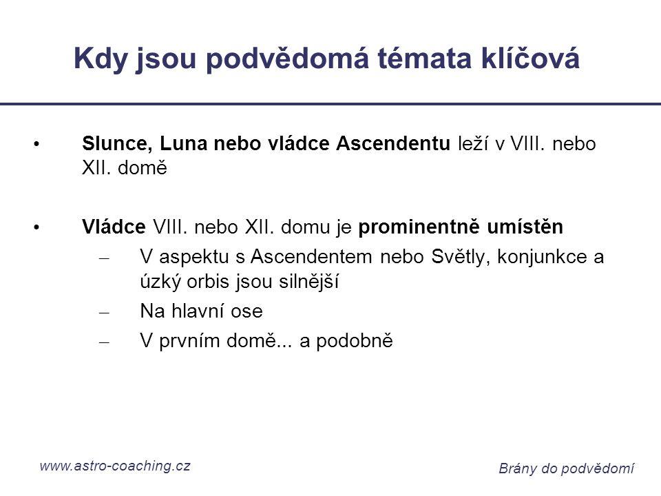 www.astro-coaching.cz Brány do podvědomí Kdy jsou podvědomá témata klíčová Slunce, Luna nebo vládce Ascendentu leží v VIII.