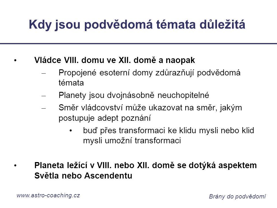 www.astro-coaching.cz Brány do podvědomí Kdy jsou podvědomá témata důležitá Vládce VIII.