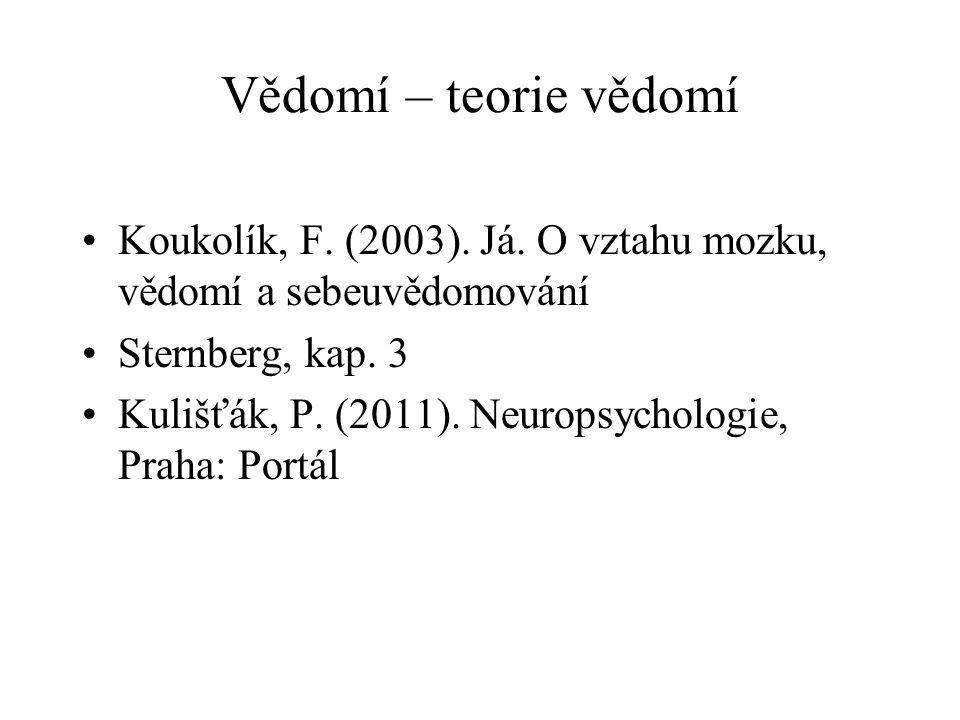 Vědomí – teorie vědomí Koukolík, F.(2003). Já.