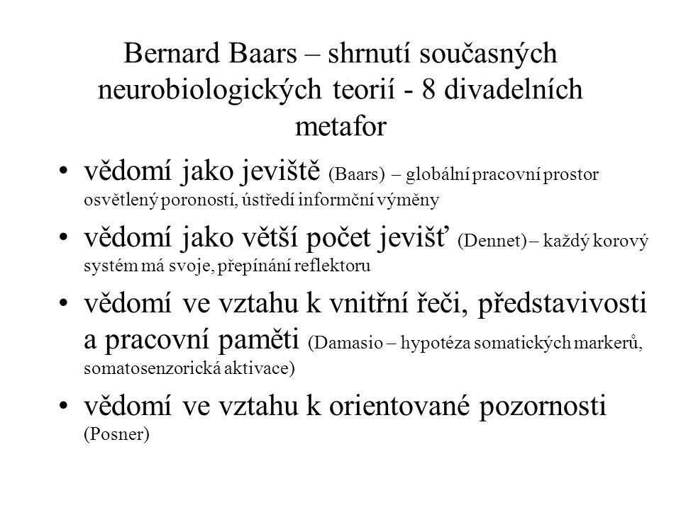 Bernard Baars – shrnutí současných neurobiologických teorií - 8 divadelních metafor vědomí jako jeviště (Baars) – globální pracovní prostor osvětlený poroností, ústředí informční výměny vědomí jako větší počet jevišť (Dennet) – každý korový systém má svoje, přepínání reflektoru vědomí ve vztahu k vnitřní řeči, představivosti a pracovní paměti (Damasio – hypotéza somatických markerů, somatosenzorická aktivace) vědomí ve vztahu k orientované pozornosti (Posner)