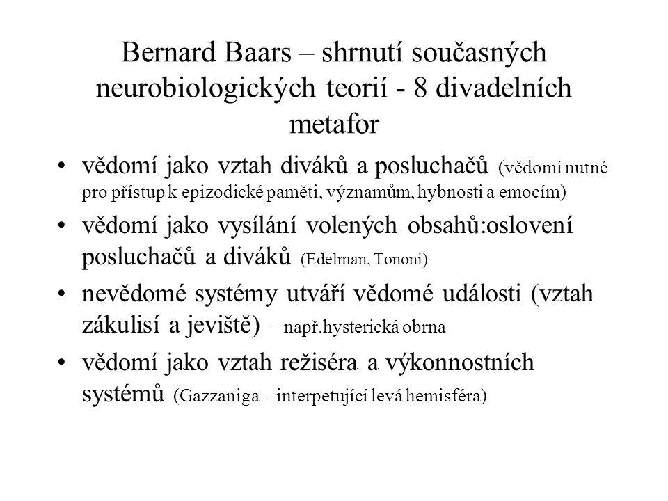 Bernard Baars – shrnutí současných neurobiologických teorií - 8 divadelních metafor vědomí jako vztah diváků a posluchačů (vědomí nutné pro přístup k epizodické paměti, významům, hybnosti a emocím) vědomí jako vysílání volených obsahů:oslovení posluchačů a diváků (Edelman, Tononi) nevědomé systémy utváří vědomé události (vztah zákulisí a jeviště) – např.hysterická obrna vědomí jako vztah režiséra a výkonnostních systémů (Gazzaniga – interpetující levá hemisféra)