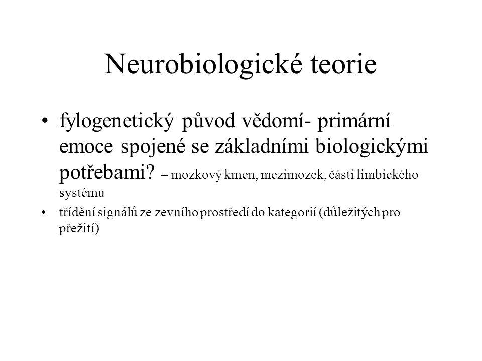 Neurobiologické teorie fylogenetický původ vědomí- primární emoce spojené se základními biologickými potřebami.