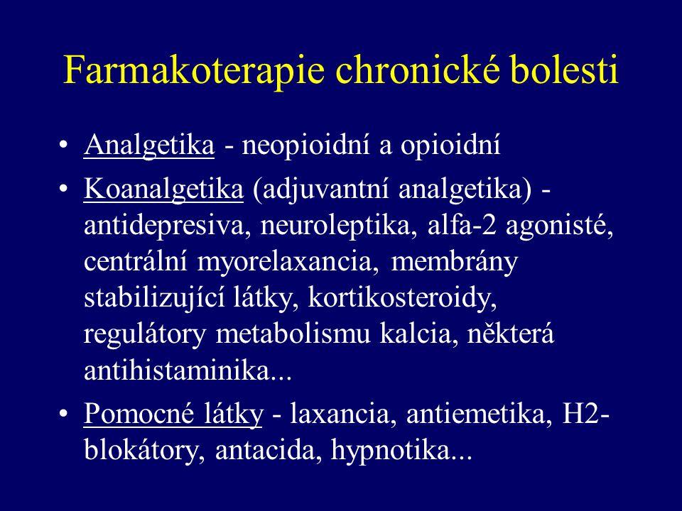 Farmakoterapie chronické bolesti Analgetika - neopioidní a opioidní Koanalgetika (adjuvantní analgetika) - antidepresiva, neuroleptika, alfa-2 agonist