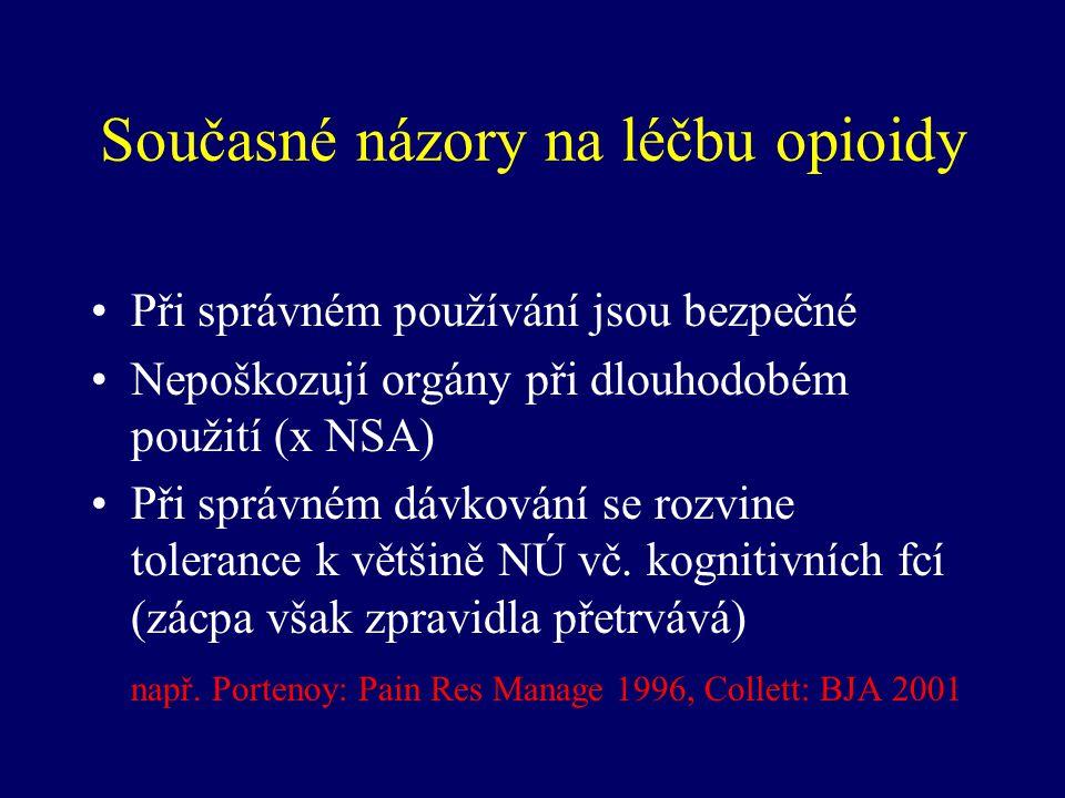 Současné názory na léčbu opioidy Při správném používání jsou bezpečné Nepoškozují orgány při dlouhodobém použití (x NSA) Při správném dávkování se roz