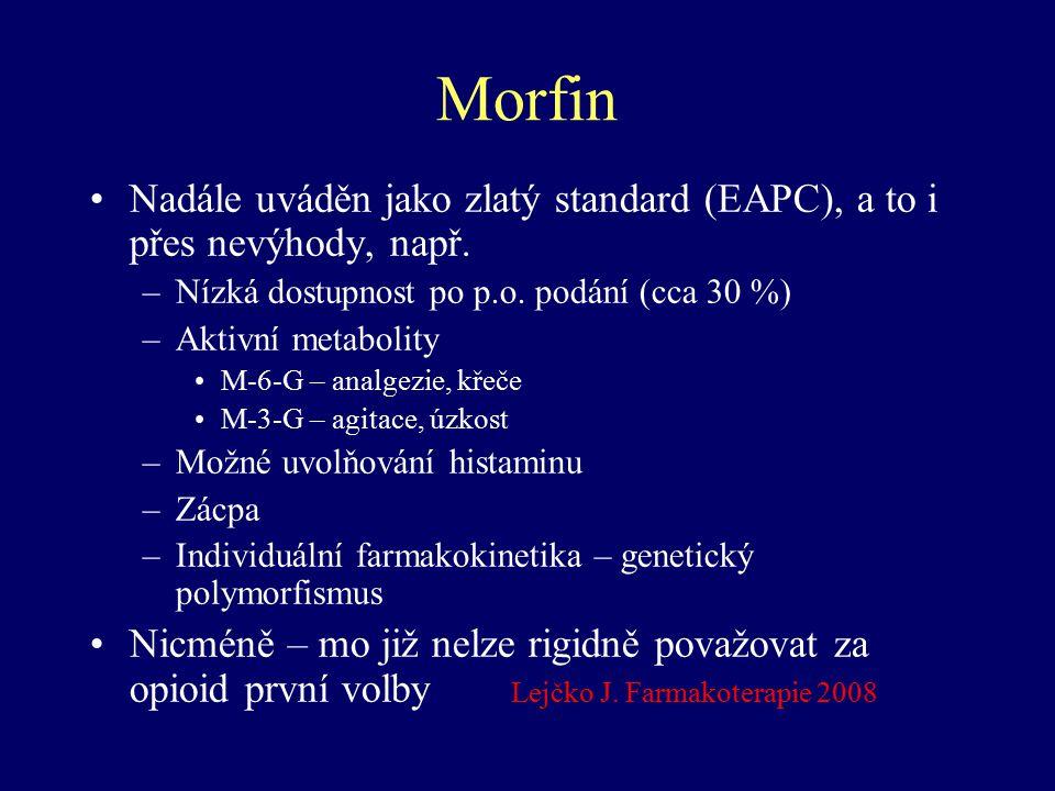 Morfin Nadále uváděn jako zlatý standard (EAPC), a to i přes nevýhody, např. –Nízká dostupnost po p.o. podání (cca 30 %) –Aktivní metabolity M-6-G – a