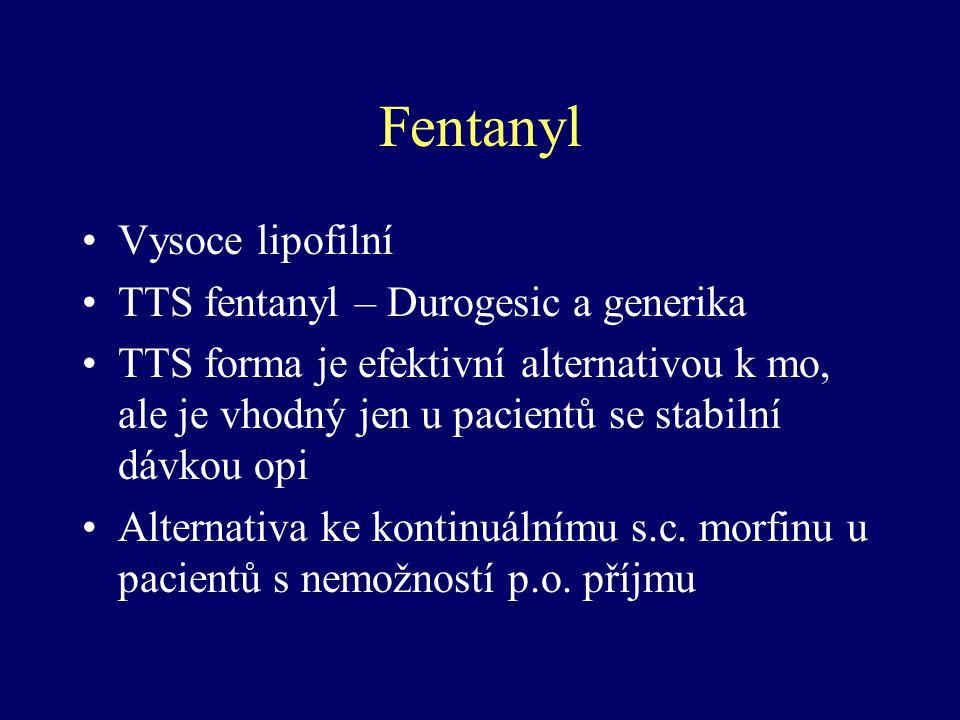 Fentanyl Vysoce lipofilní TTS fentanyl – Durogesic a generika TTS forma je efektivní alternativou k mo, ale je vhodný jen u pacientů se stabilní dávko