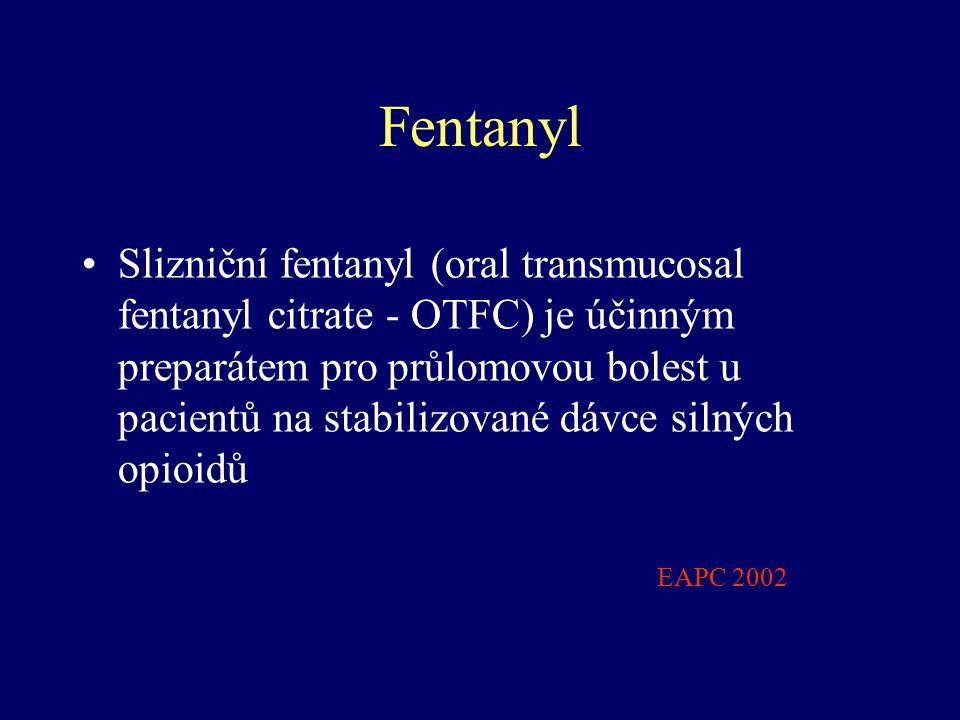 Fentanyl Slizniční fentanyl (oral transmucosal fentanyl citrate - OTFC) je účinným preparátem pro průlomovou bolest u pacientů na stabilizované dávce