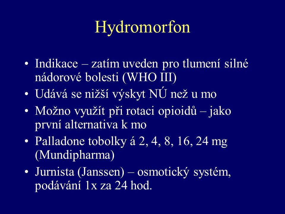 Hydromorfon Indikace – zatím uveden pro tlumení silné nádorové bolesti (WHO III) Udává se nižší výskyt NÚ než u mo Možno využít při rotaci opioidů – j