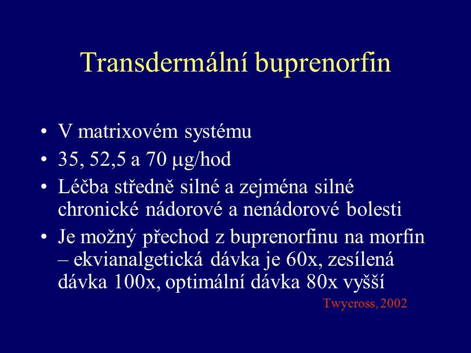 Transdermální buprenorfin V matrixovém systému 35, 52,5 a 70  g/hod Léčba středně silné a zejména silné chronické nádorové a nenádorové bolesti Je mo