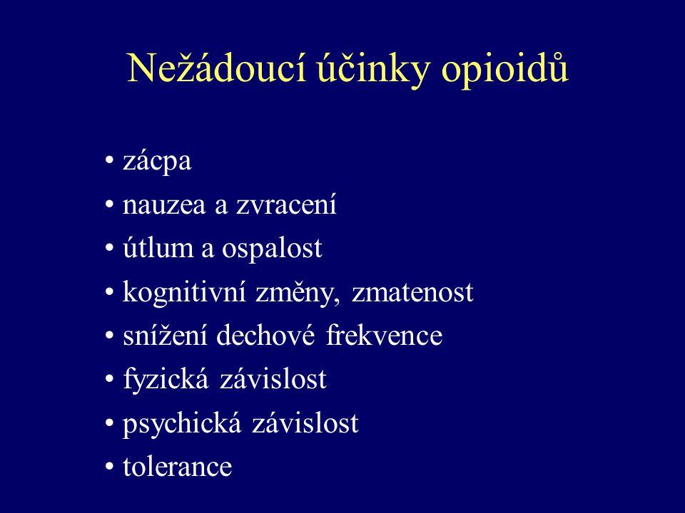 Nežádoucí účinky opioidů zácpa nauzea a zvracení útlum a ospalost kognitivní změny, zmatenost snížení dechové frekvence fyzická závislost psychická zá