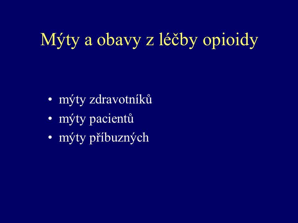 Mýty a obavy z léčby opioidy mýty zdravotníků mýty pacientů mýty příbuzných