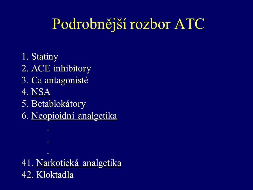 Podrobnější rozbor ATC 1.Statiny 1. Statiny 2. ACE inhibitory 3. Ca antagonisté 4. NSA 5. Betablokátory 6. Neopioidní analgetika... 41. Narkotická ana
