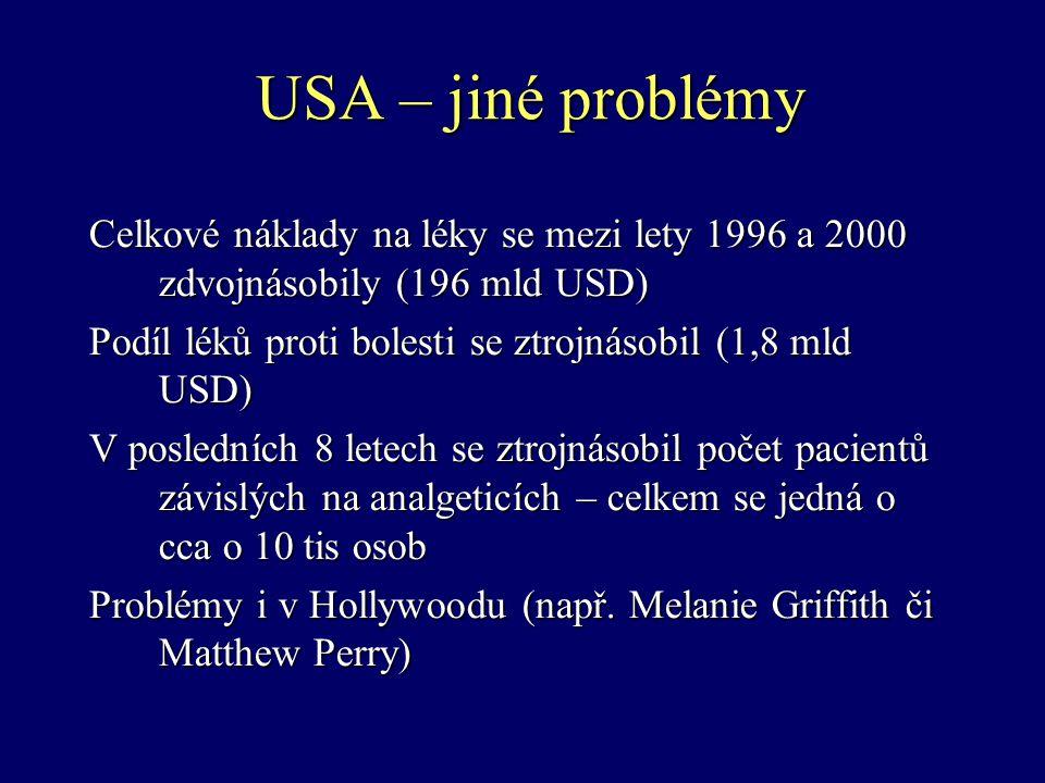 USA – jiné problémy Celkové náklady na léky se mezi lety 1996 a 2000 zdvojnásobily (196 mld USD) Podíl léků proti bolesti se ztrojnásobil (1,8 mld USD