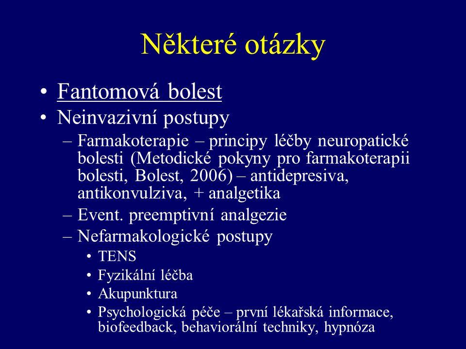 Některé otázky Fantomová bolest Neinvazivní postupy –Farmakoterapie – principy léčby neuropatické bolesti (Metodické pokyny pro farmakoterapii bolesti