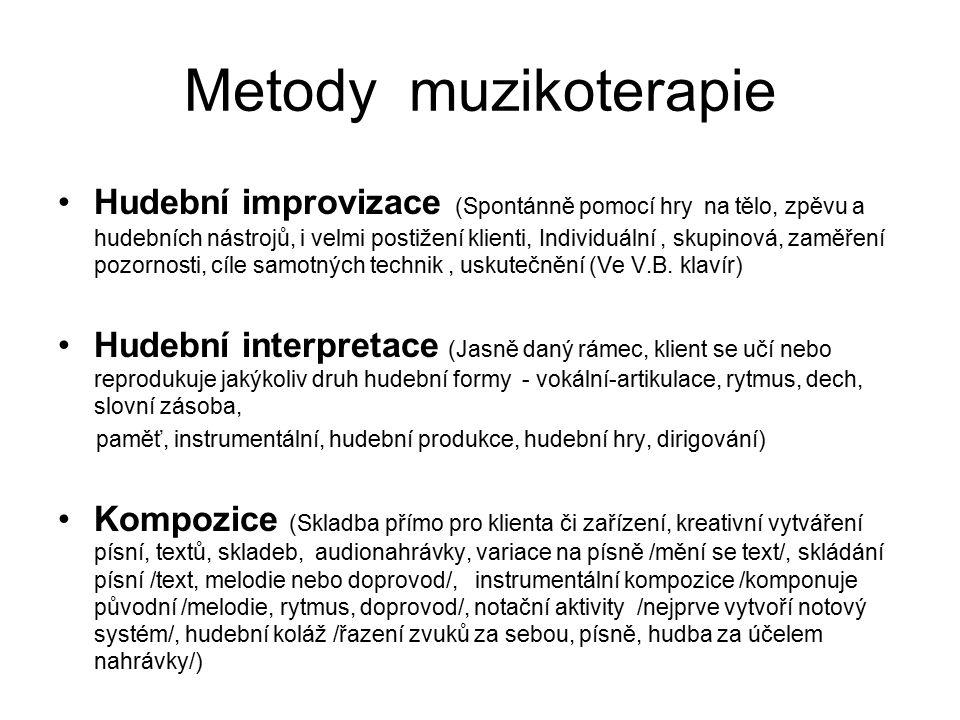Metody muzikoterapie Hudební improvizace (Spontánně pomocí hry na tělo, zpěvu a hudebních nástrojů, i velmi postižení klienti, Individuální, skupinová
