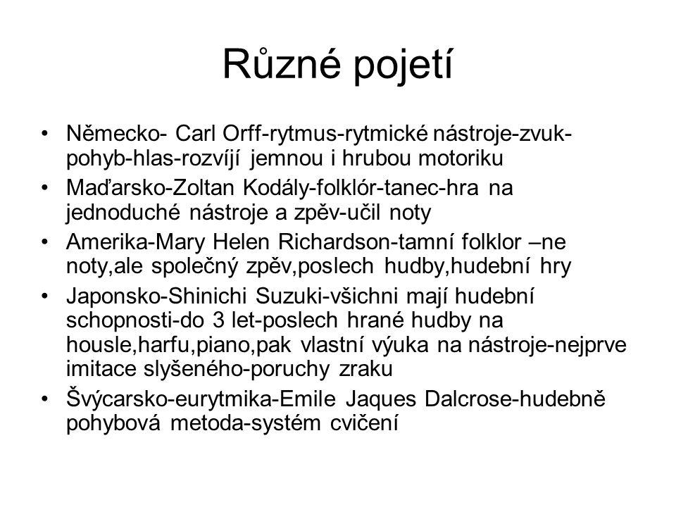 Různé pojetí Německo- Carl Orff-rytmus-rytmické nástroje-zvuk- pohyb-hlas-rozvíjí jemnou i hrubou motoriku Maďarsko-Zoltan Kodály-folklór-tanec-hra na