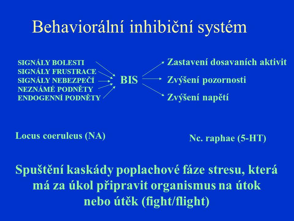 Behaviorální inhibiční systém SIGNÁLY BOLESTI SIGNÁLY FRUSTRACE SIGNÁLY NEBEZPEČÍ NEZNÁMÉ PODNĚTY ENDOGENNÍ PODNĚTY Zastavení dosavaních aktivit Zvýše