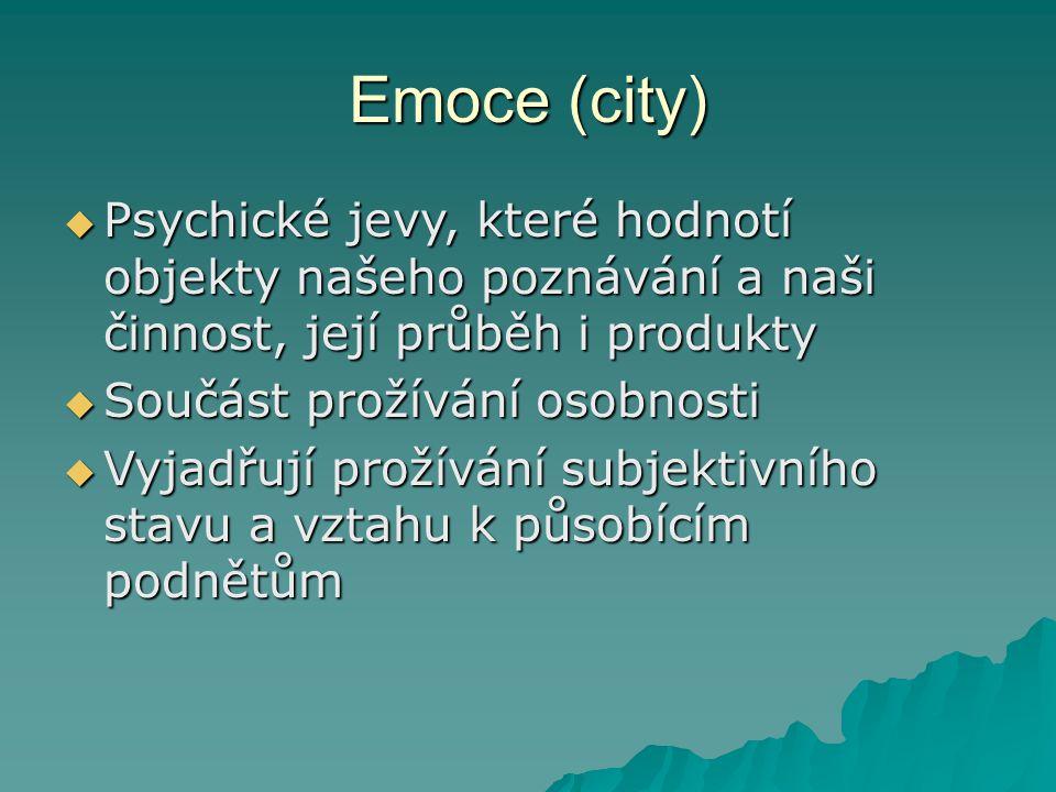 City jako psychické procesy - příklady  Příjemný prožitek z pohledu na pěknou věc  Prudký výbuch hněvu  Radost z dobré zprávy  Nával smutku