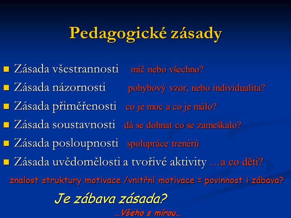 Pedagogické zásady Zásada všestrannosti míč nebo všechno? Zásada všestrannosti míč nebo všechno? Zásada názornosti pohybový vzor, nebo individualita?
