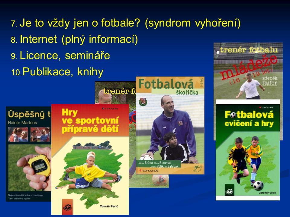 7. Je to vždy jen o fotbale? (syndrom vyhoření) 8. Internet (plný informací) 9. Licence, semináře 10. Publikace, knihy