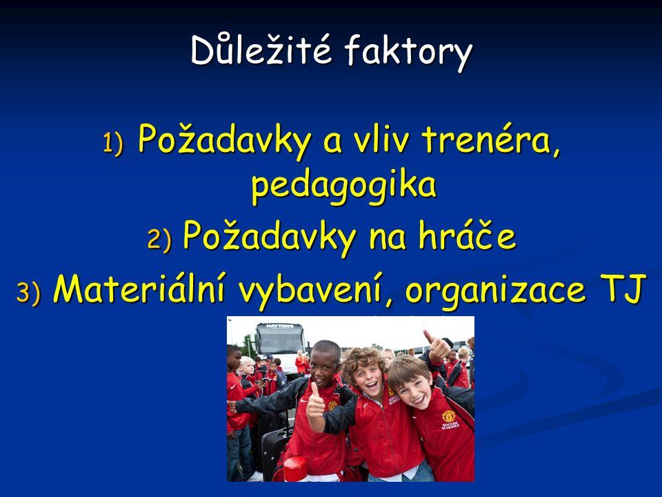 Důležité faktory 1) P ožadavky a vliv trenéra, pedagogika 2) P ožadavky na hráče 3) M ateriální vybavení, organizace TJ a vzdělávání