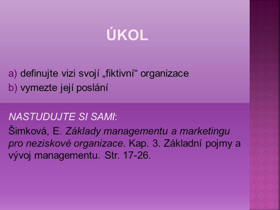 """a) definujte vizi svojí """"fiktivní organizace b) vymezte její poslání NASTUDUJTE SI SAMI: Šimková, E."""