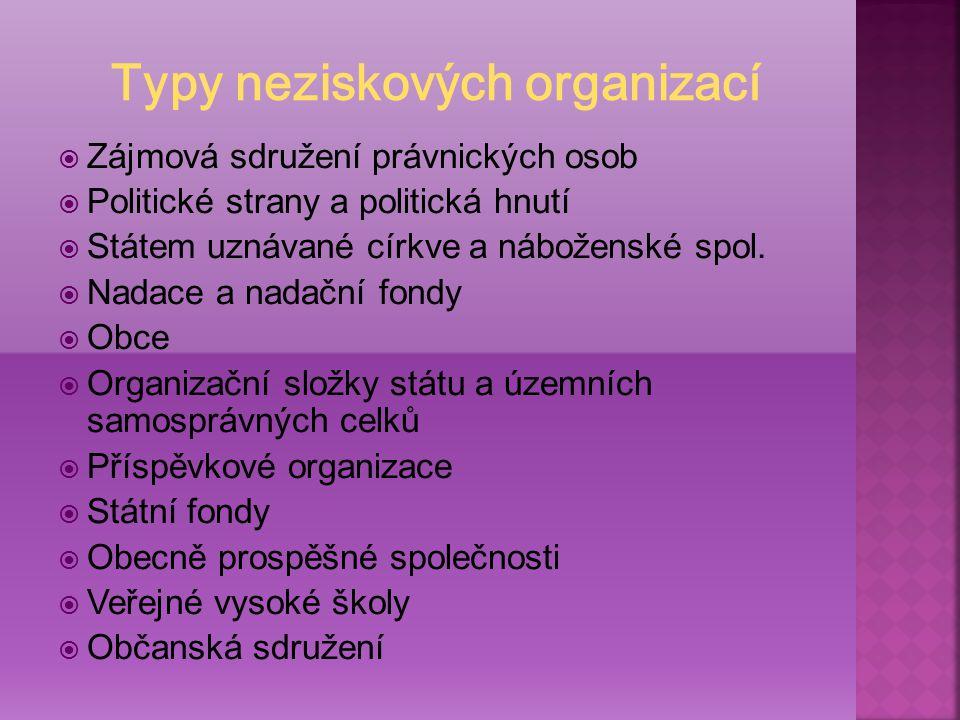  Zájmová sdružení právnických osob  Politické strany a politická hnutí  Státem uznávané církve a náboženské spol.