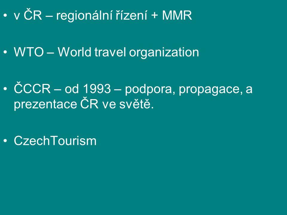v ČR – regionální řízení + MMR WTO – World travel organization ČCCR – od 1993 – podpora, propagace, a prezentace ČR ve světě.