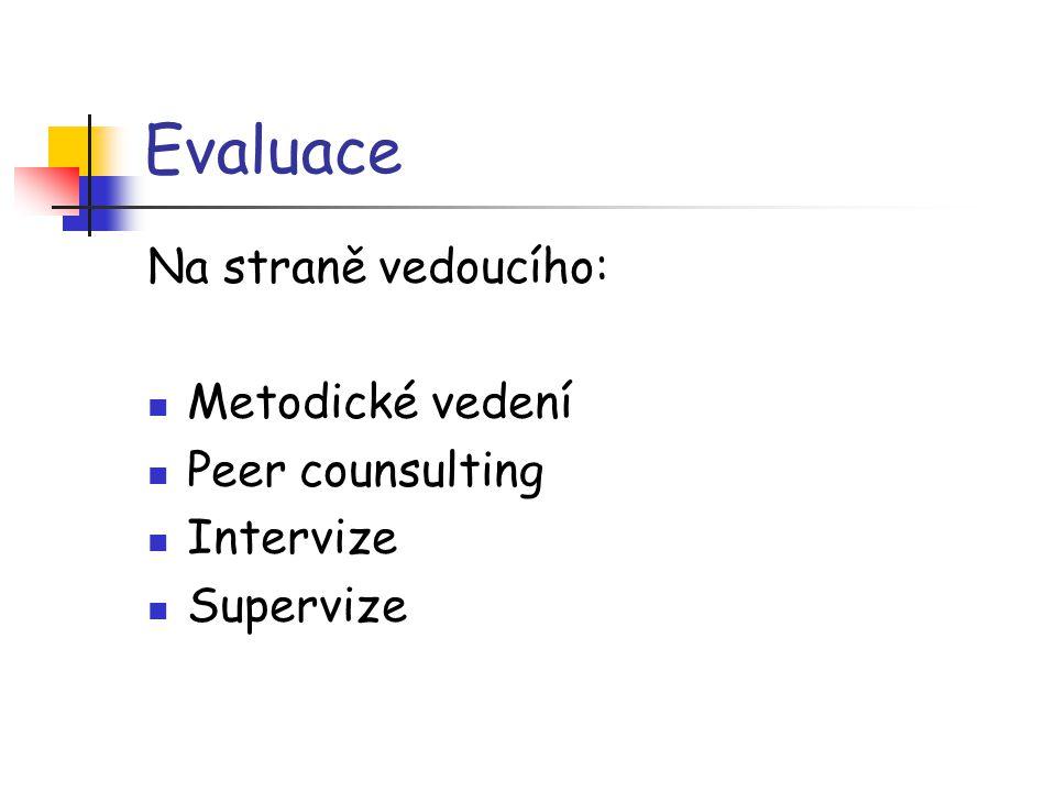 Evaluace Na straně vedoucího: Metodické vedení Peer counsulting Intervize Supervize