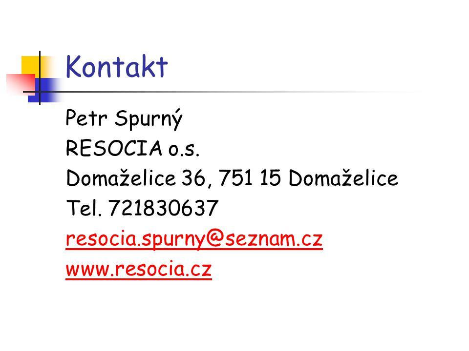 Kontakt Petr Spurný RESOCIA o.s. Domaželice 36, 751 15 Domaželice Tel. 721830637 resocia.spurny@seznam.cz www.resocia.cz