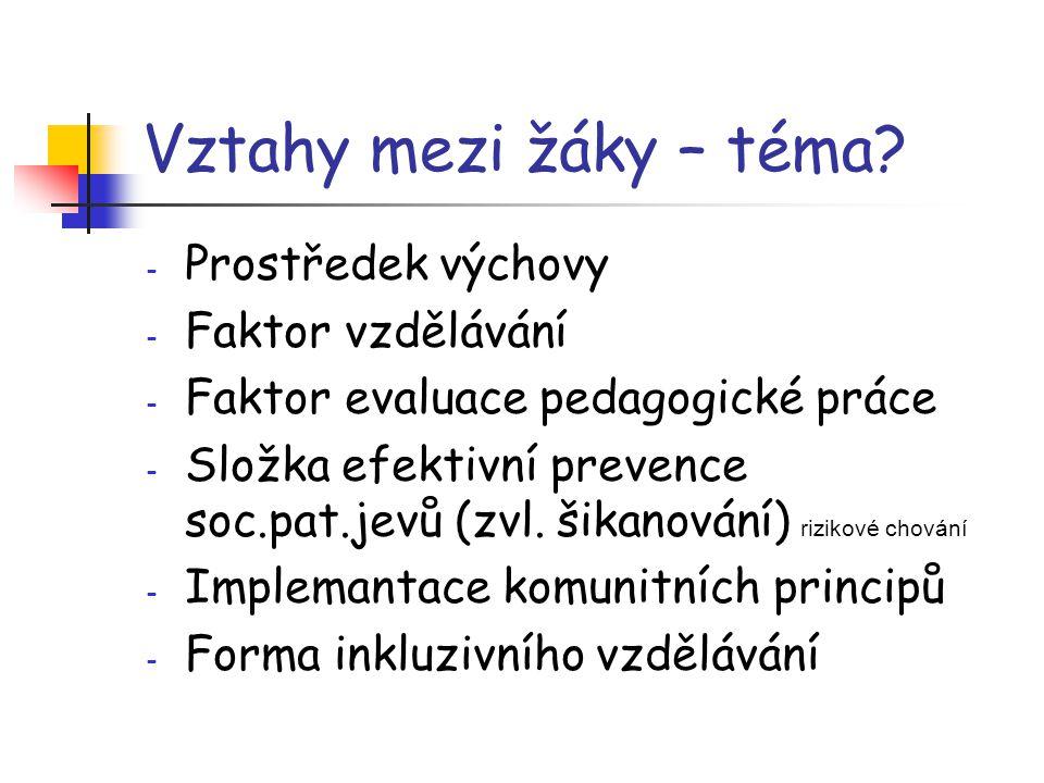 Vztahy mezi žáky – téma? - Prostředek výchovy - Faktor vzdělávání - Faktor evaluace pedagogické práce - Složka efektivní prevence soc.pat.jevů (zvl. š