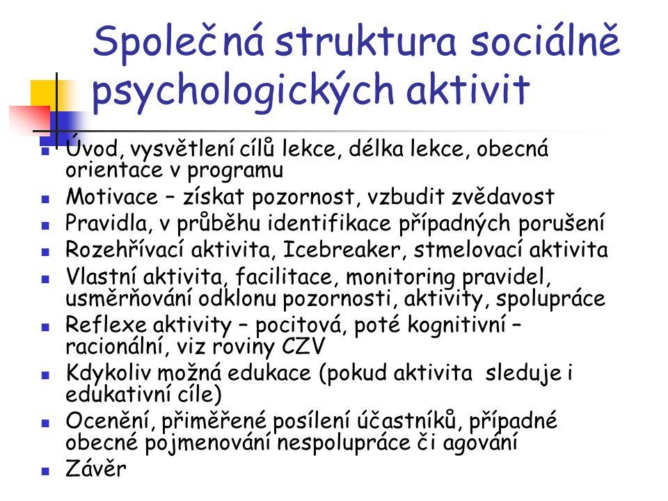 Společná struktura sociálně psychologických aktivit Úvod, vysvětlení cílů lekce, délka lekce, obecná orientace v programu Motivace – získat pozornost,