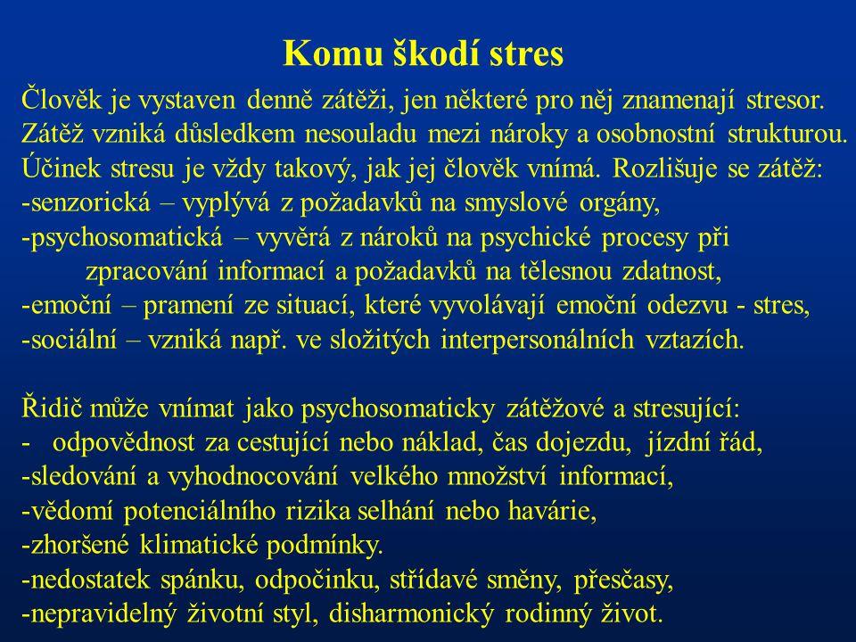 Komu škodí stres Člověk je vystaven denně zátěži, jen některé pro něj znamenají stresor.