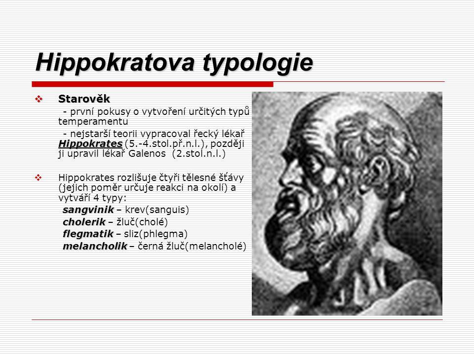 Hippokratova typologie  Starověk - první pokusy o vytvoření určitých typů temperamentu Hippokrates - nejstarší teorii vypracoval řecký lékař Hippokra