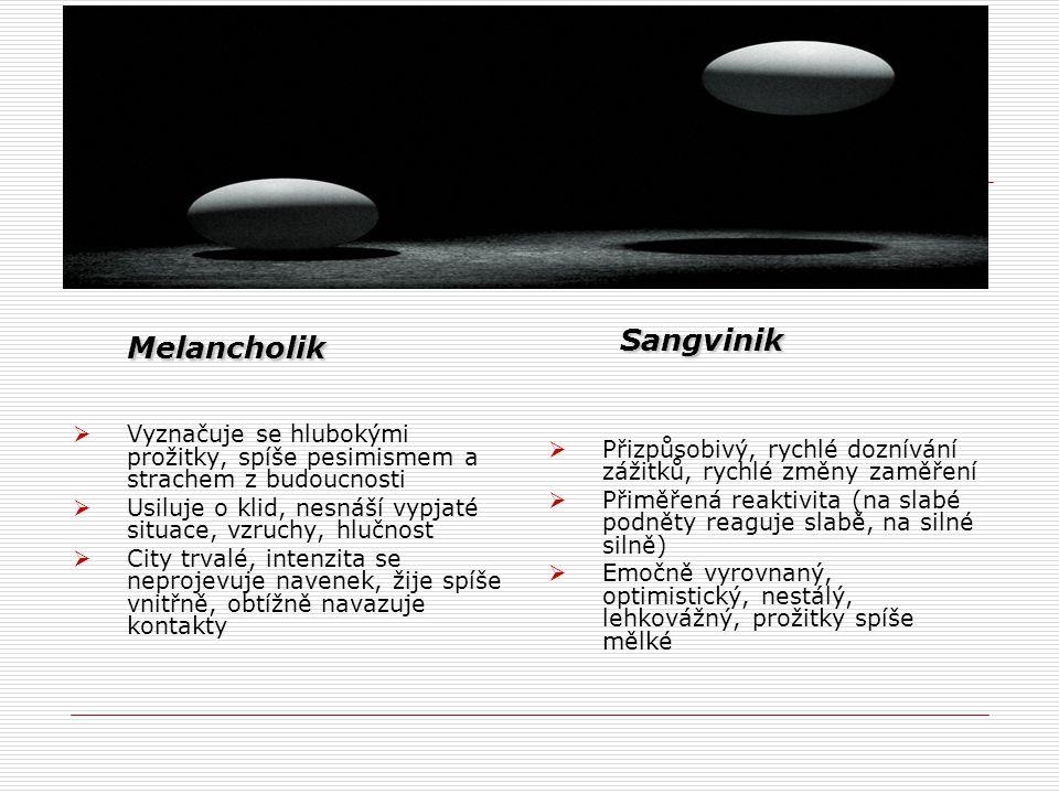 Melancholik Melancholik  Vyznačuje se hlubokými prožitky, spíše pesimismem a strachem z budoucnosti  Usiluje o klid, nesnáší vypjaté situace, vzruch