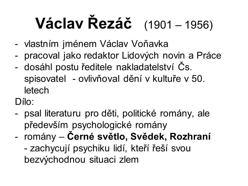 Václav Řezáč (1901 – 1956) -vlastním jménem Václav Voňavka -pracoval jako redaktor Lidových novin a Práce -dosáhl postu ředitele nakladatelství Čs.