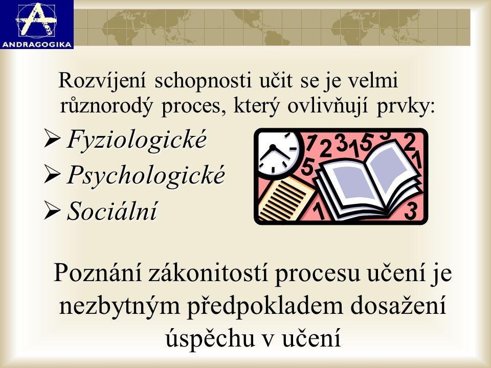 Rozvíjení schopnosti učit se je velmi různorodý proces, který ovlivňují prvky:  Fyziologické  Psychologické  Sociální Poznání zákonitostí procesu u