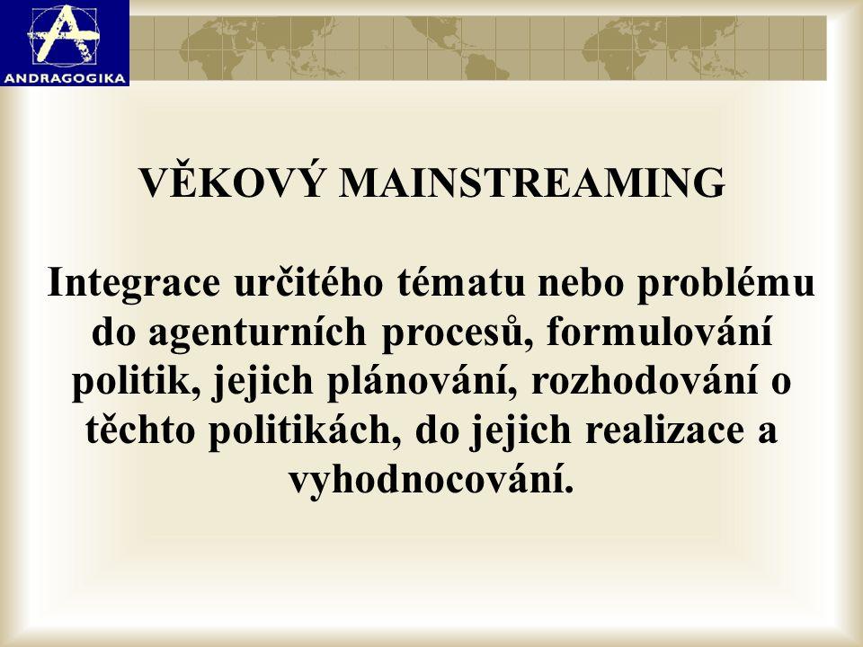 VĚKOVÝ MAINSTREAMING Integrace určitého tématu nebo problému do agenturních procesů, formulování politik, jejich plánování, rozhodování o těchto polit