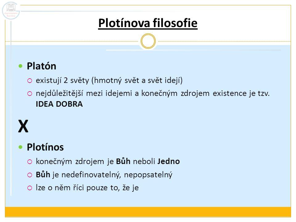 Plotínova filosofie Platón  existují 2 světy (hmotný svět a svět idejí)  nejdůležitější mezi idejemi a konečným zdrojem existence je tzv. IDEA DOBRA