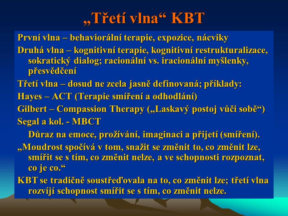 """""""Třetí vlna KBT První vlna – behaviorální terapie, expozice, nácviky Druhá vlna – kognitivní terapie, kognitivní restrukturalizace, sokratický dialog; racionální vs."""