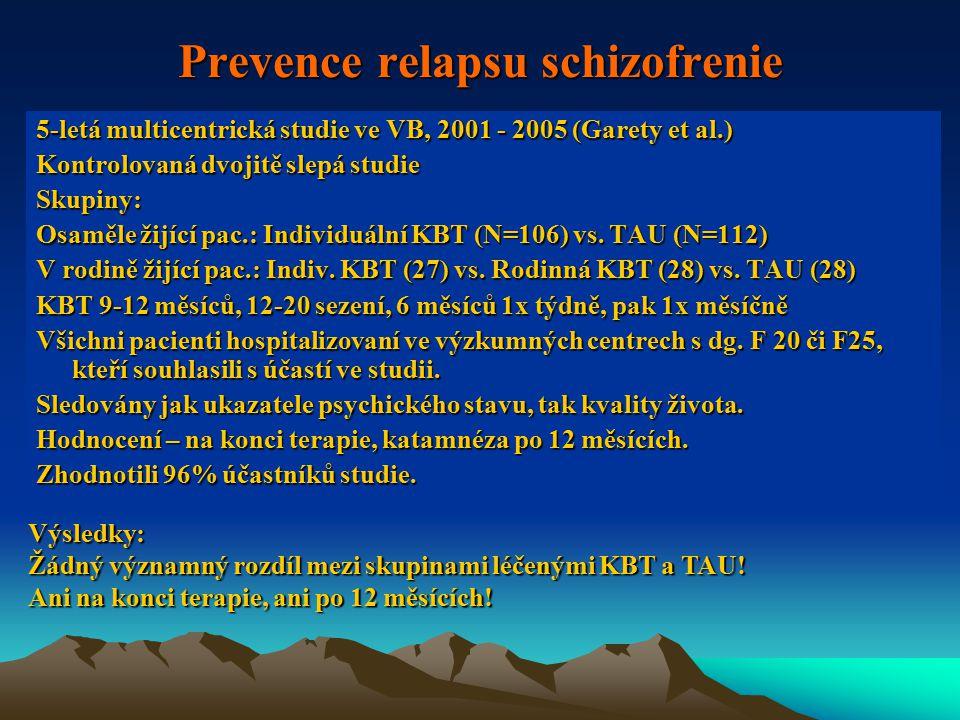 Prevence relapsu schizofrenie 5-letá multicentrická studie ve VB, 2001 - 2005 (Garety et al.) Kontrolovaná dvojitě slepá studie Skupiny: Osaměle žijící pac.: Individuální KBT (N=106) vs.