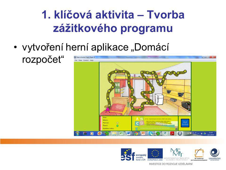 """1. klíčová aktivita – Tvorba zážitkového programu vytvoření herní aplikace """"Domácí rozpočet"""""""