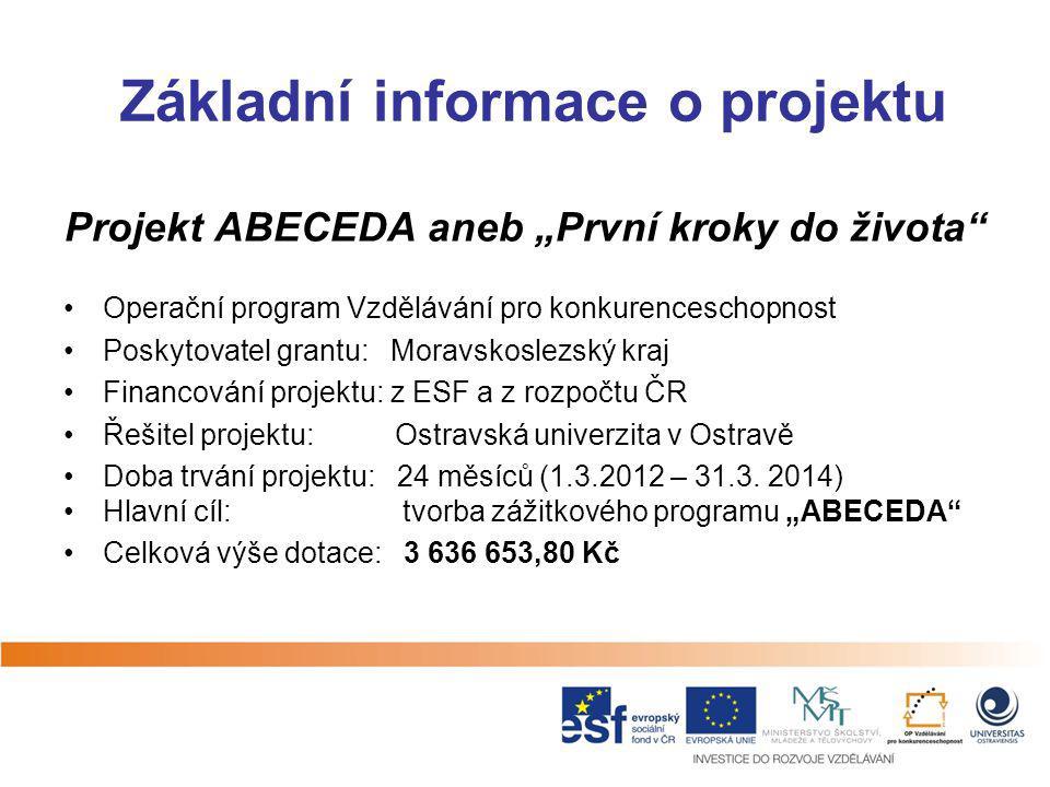 """Základní informace o projektu Projekt ABECEDA aneb """"První kroky do života"""" Operační program Vzdělávání pro konkurenceschopnost Poskytovatel grantu: Mo"""